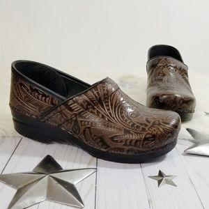 Dansko clogs tooled brown leather paisley dark 40